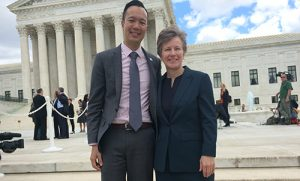 Janson Wu and Mary Bonauto in front of the Supreme Court