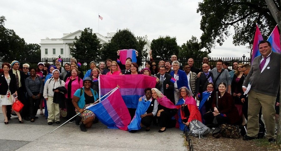 A Group Outside the White House in 2015 following a Roundtable on Bisexual Issues