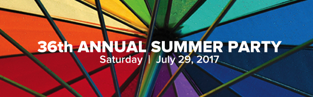 36th annual Summer Party July 29 in Provincetown, on a rainbow background
