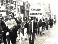 Protesting entrapment at the Boston Public Library in 1978