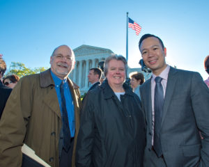 GLAD Board members Rich Yurko and Dianne Phillips with Executive Director Janson Wu in front of the US Supreme Court