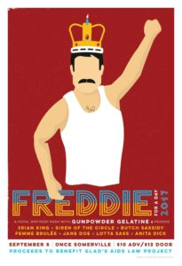 illustration of Freddie Mercury with event details