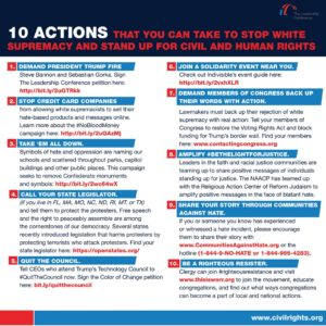 10 Actions you can take - visit civilrights.org for list