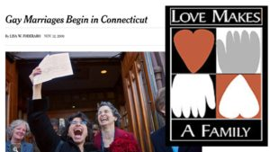 "couple cheering in NYT headline saying ""Gay Marriages Begin in Connecticut"" by Lisa Foderaro, November 12, 2006, juxtaposed with LOVE MAKES A FAMILY sign with hands and hearts"