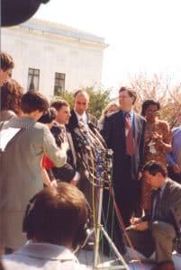 Ben Klein speaking at press