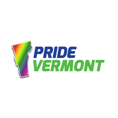 Pride Vermont logo, state of vermont filled in rainbow gradient