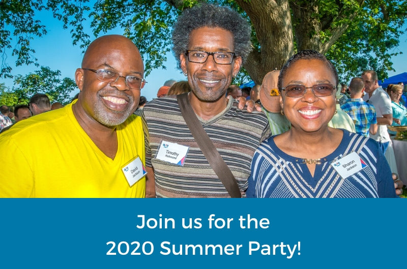 Join us for the 2020 Summer Party! Image of 3 smiling party goers, blue sky and trees of Provincetown in background
