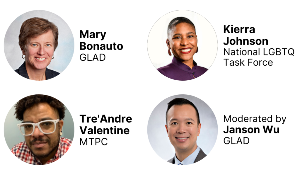 Featuring Mary Bonauto, GLAD, Kierra Johnson, National LGBTQ Task Force, and Tre'Andre Valentine, MTPC. Moderated by Janson Wu, GLAD.