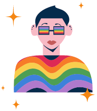 person with rainbow glasses and rainbow top, short black hair and surrounded by gold sparkles